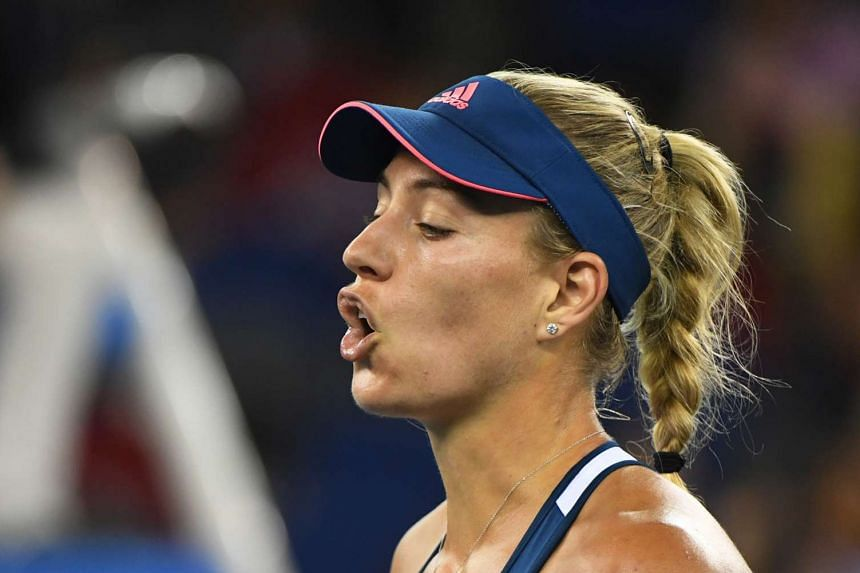 Kerber reacts to a lost point during her third-round match against Petra Kvitova.
