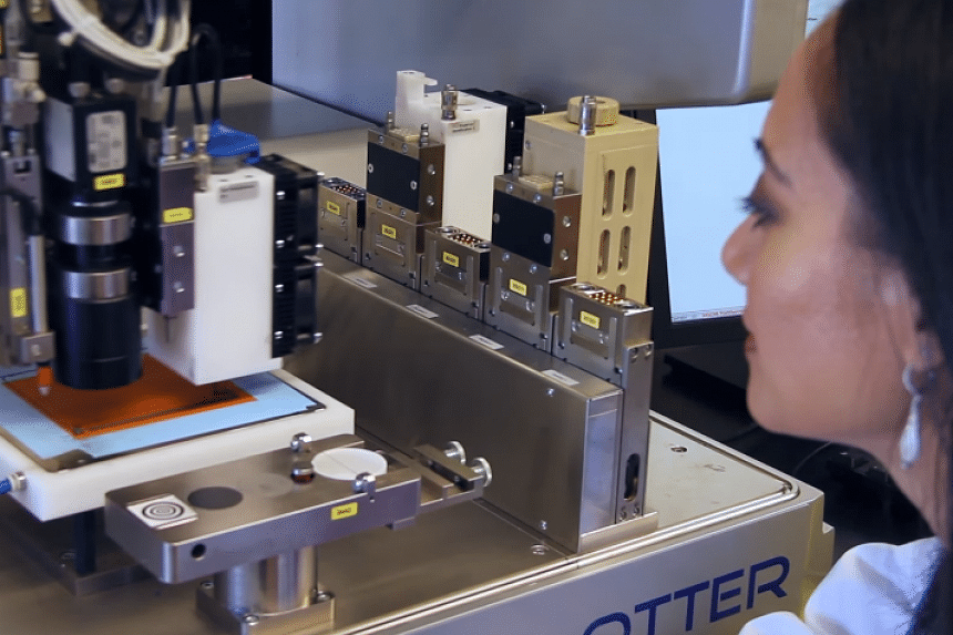 Ramille Shah of Northwestern University using the 3D printer in a screenshot from a promotional video.