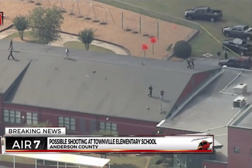 A screenshot from live news coverage of the incident.