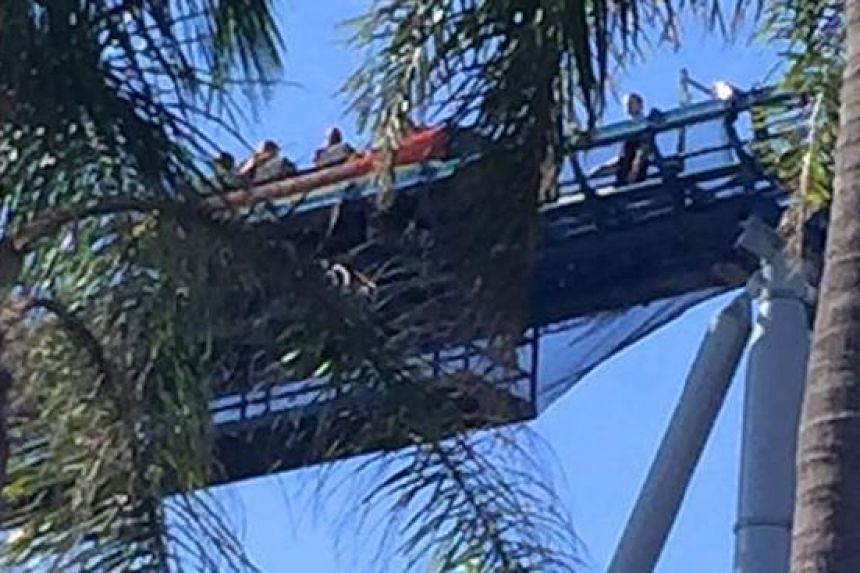 Thrill seekers at Sea World stranded on top of the Storm Coaster ride on Sept 30, 2016.