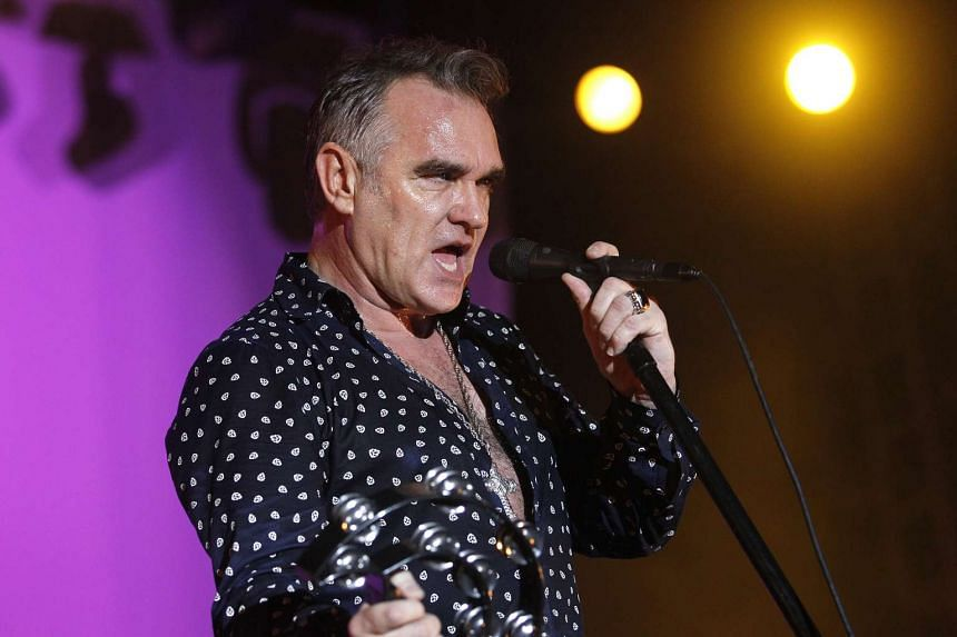 Steven Patrick Morrissey, English singer, performing at his maiden Singapore show in 2012.