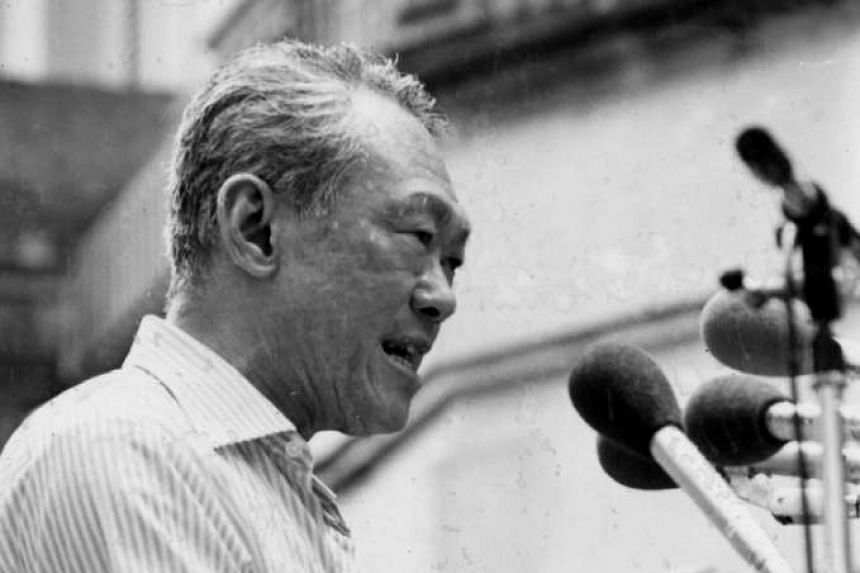 Mr Lee Kuan Yew campaigning on Dec 19, 1980. The High Court has ruled on the copyright to transcripts of oral history interviews with Mr Lee Kuan Yew conducted in the early 1980s.
