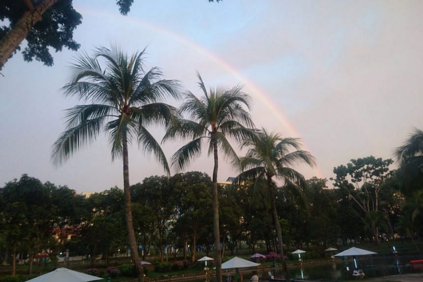 A double rainbow as seen at Pasir Ris Pro Pond on Sept 30, 2016.