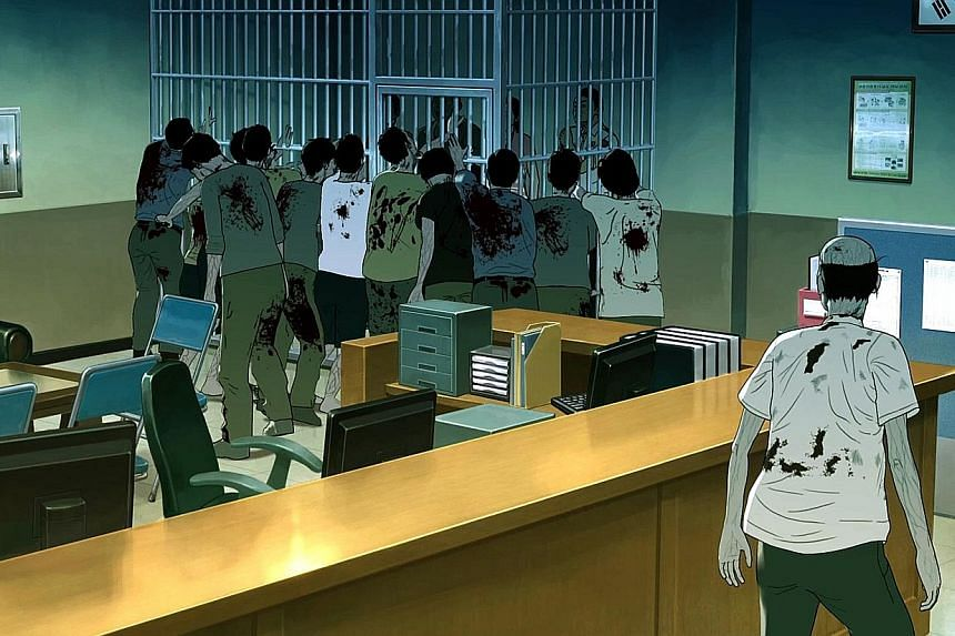 Homeless people fleeing zombies are left to fend for themselves in Seoul Station.