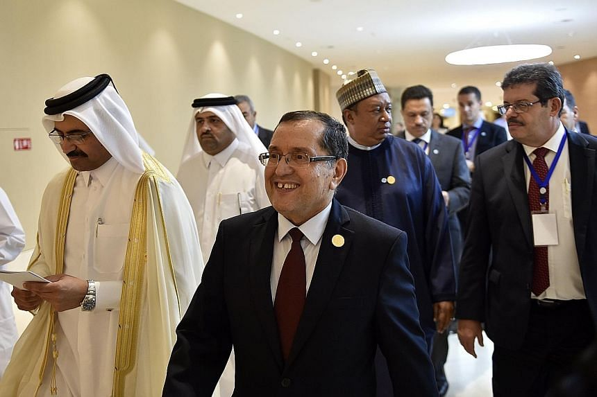 Algerian Energy Minister Noureddine Boutarfa (centre) and Opec president Mohammed bin Saleh al-Sada (left) arriving for a press conference after an Opec meeting on Wednesday in the Algerian capital of Algiers.