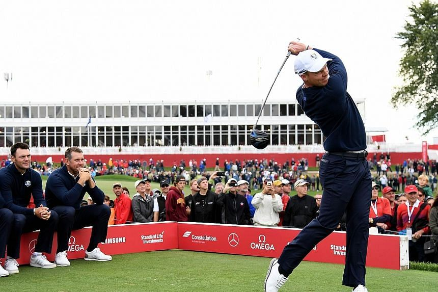 (From left to right) Martin Kaymer and Lee Westwood watch European team-mate Danny Willett hit off the tee during practice ahead of the Ryder Cup at Hazeltine National Golf Club in Chaska, Minnesota. Masters champion Willett is one of six rookies in