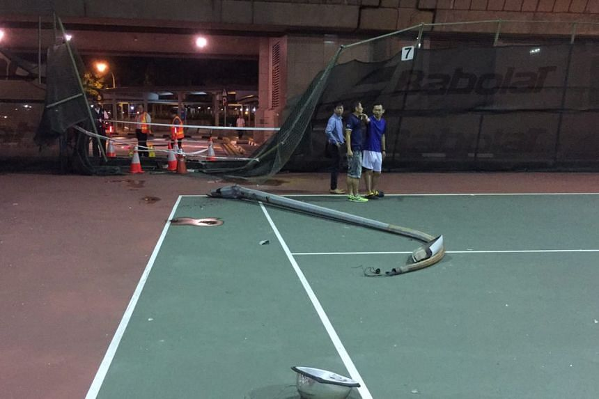 The tennis court after the bus was removed on Sept 30, 2016.