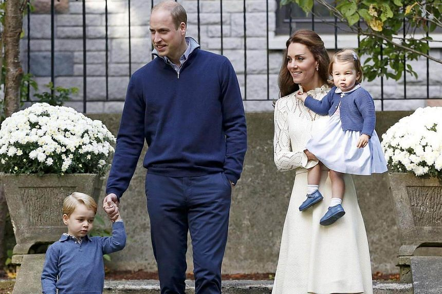Britain's Prince William, Catherine, Duchess of Cambridge, Prince George (left) and Princess Charlotte arrive at a children's party at Government House in Victoria, British Columbia, Canada on Sept 29, 2016.