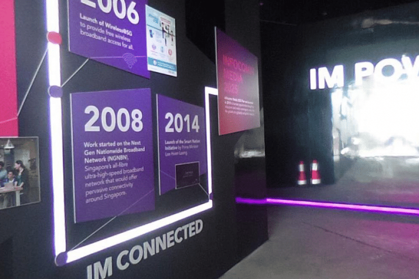 IMDA's Time Tunnel, a display documenting some of Singapore's infocomm and media milestones, at the launch of the new Info-communications Media Development Authority.