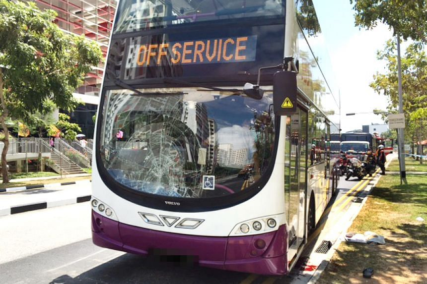 The windscreen of the bus was cracked after it knocked down a 51-year-old man on Sept 30, 2016.