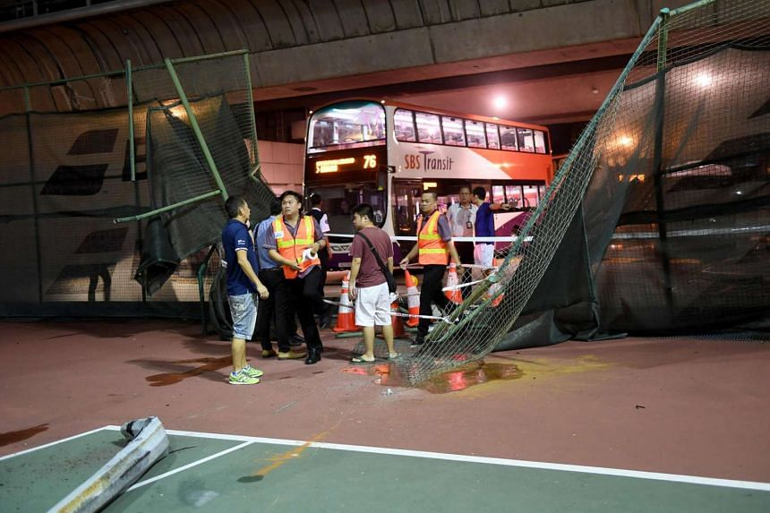 A view of the damage on the bus that crashed into a tennis court next to Yio Chu Kang MRT station on Friday (Sept 30) evening.