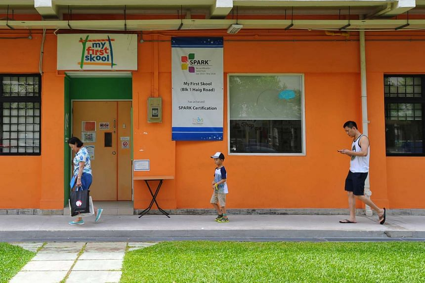 My First Skool at Block 1, Haig Road. One in three pre-schools in Singapore have earned the Singapore Pre-school Accreditation Framework quality mark.