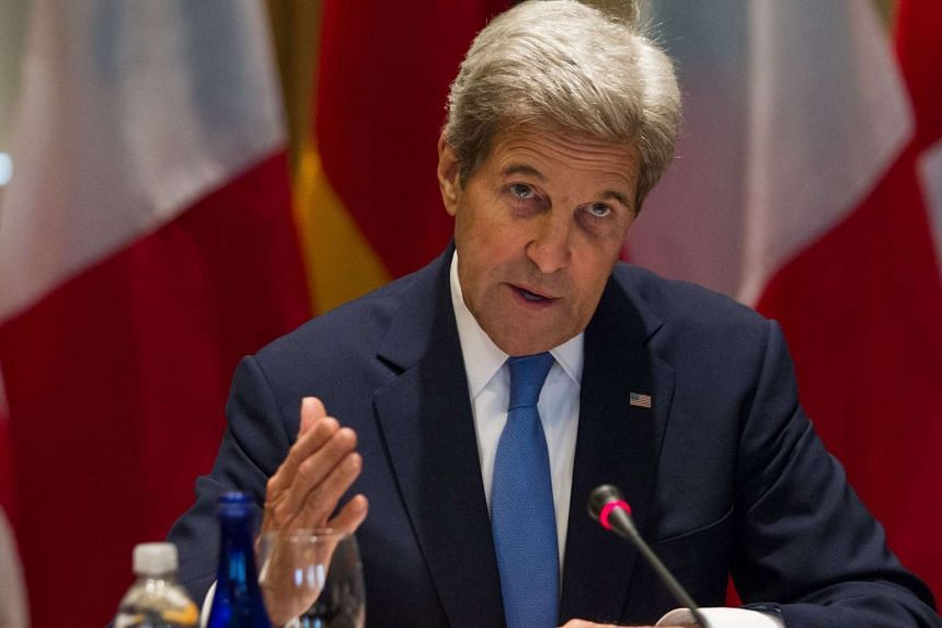 "Kerry (above) said talks were ""irrational in the context of the kind of bombing taking place"" in Aleppo."