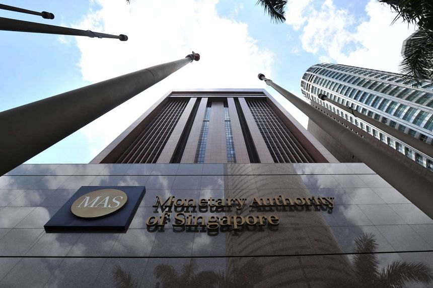 Facade of the Monetary Authority of Singapore (MAS) building at 10 Shenton Way.