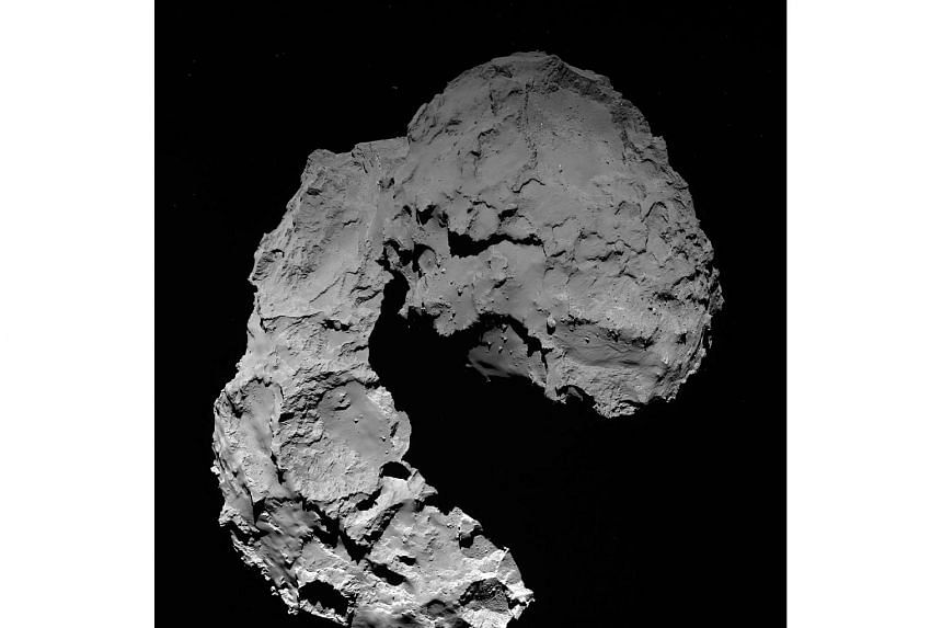 A  view taken by Rosetta's OSIRIS wide-angle camera on Sept 29, 2016 when Rosetta was 22.9 km from Comet 67P/Churyumov–Gerasimenko.