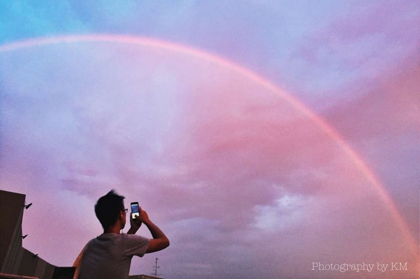 A double rainbow was spotted in the Singapore skyline on Sept 30, 2016.