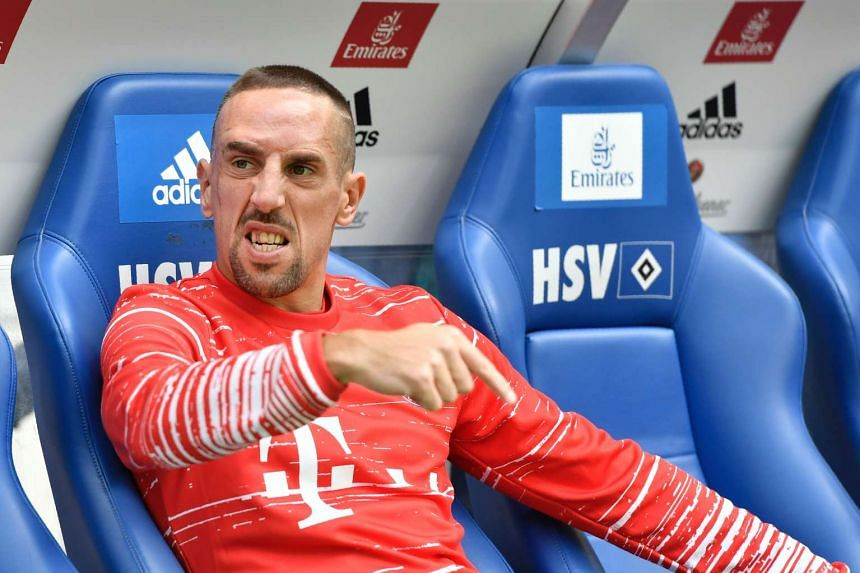 Bayern Munich's French midfielder Franck Ribery sits on the bench prior to a match on Sept 24, 2016.