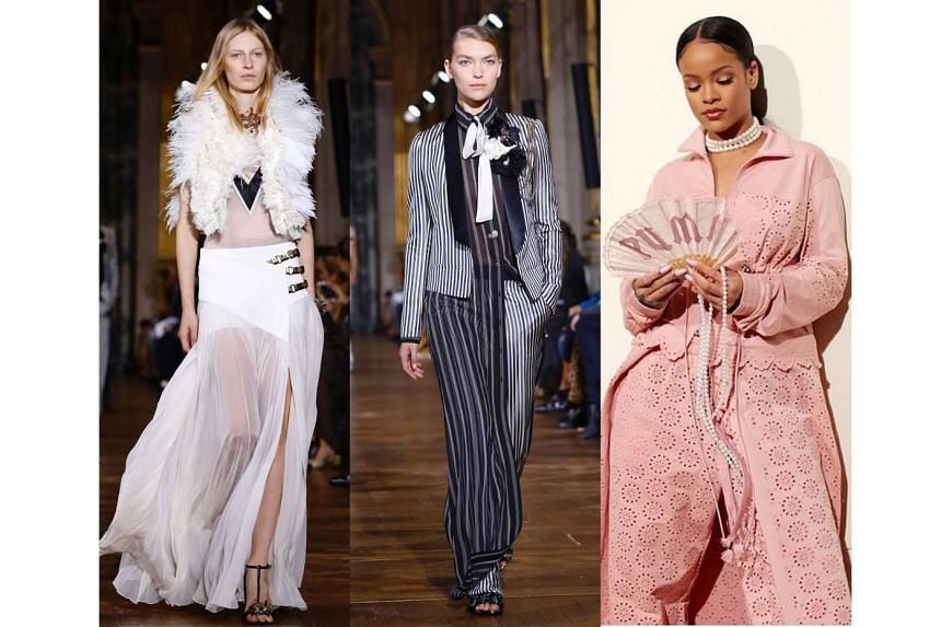 """Designer Bouchra Jarrar's collection for Lanvin balanced femininity and masculinity, with pleated skirts (left) and menswear suiting (center). Singer Rihanna (right) says her second Fenty collection for Puma is inspired by """"what if Marie Antoinet"""