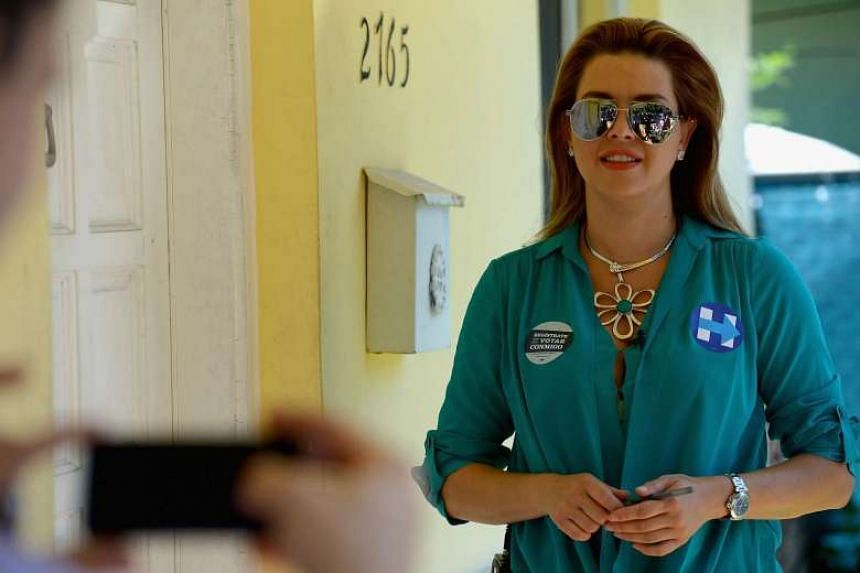 Former Miss Universe Alicia Machado on the campaign trail for Hillary Clinton on Aug 19, 2016.