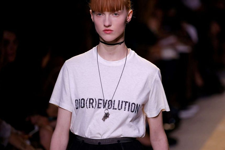 A model presents a creation by Italian designer Maria Grazia Chiuri as part of her fashion collection for Dior.