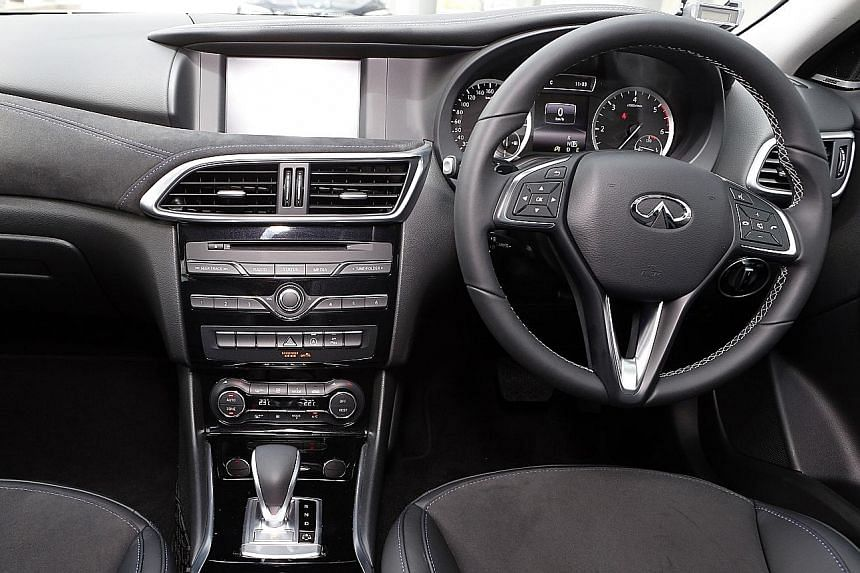 The Infiniti Q30 1.5D Premium has a 1.5-litre diesel engine with an output of 108bhp and a torque of 260Nm.