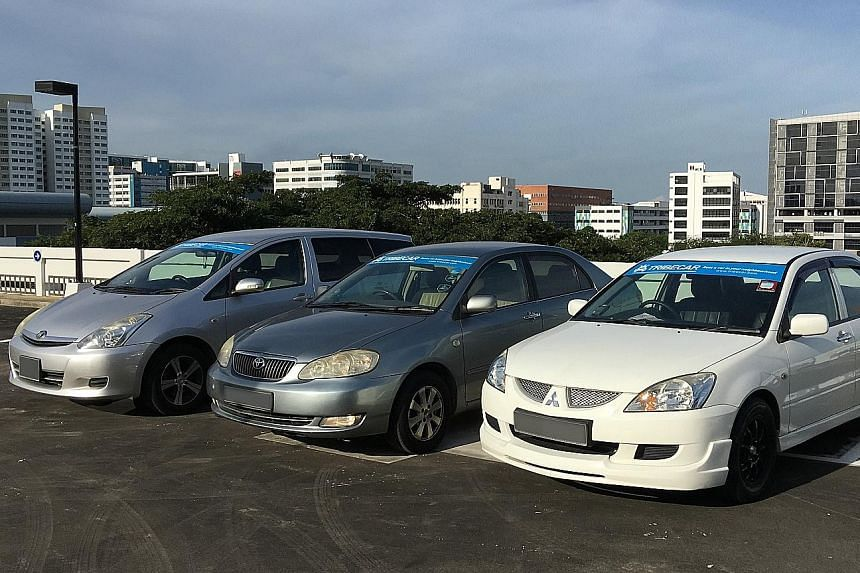 Tribecar's fleet consists of the previous- generation (from left) Toyota Wish, Toyota Altis and Mitsubishi Lancer.