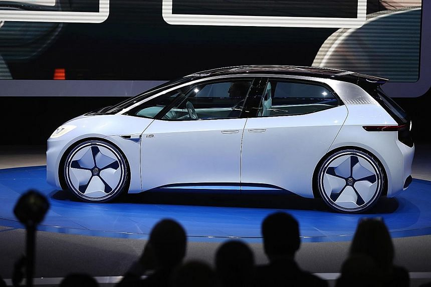 Volkswagen unveiled its I.D. concept electric car at the Paris Motor Show.