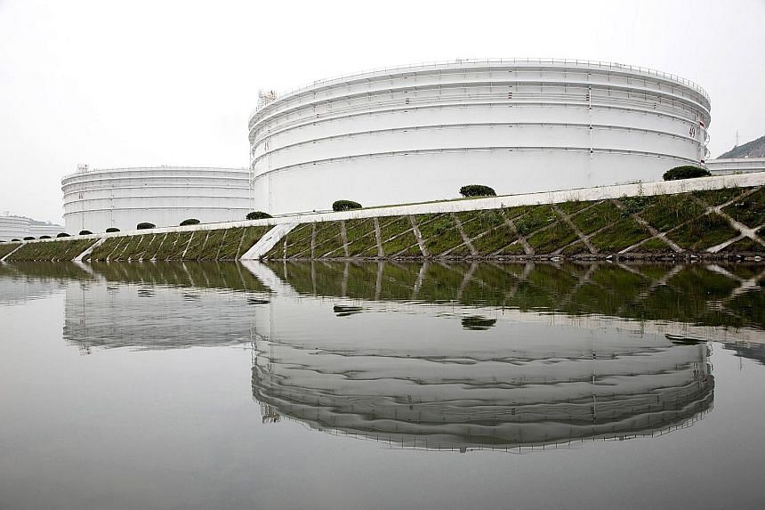 Storage tanks at a strategic oil reserve complex in Zhoushan, China.