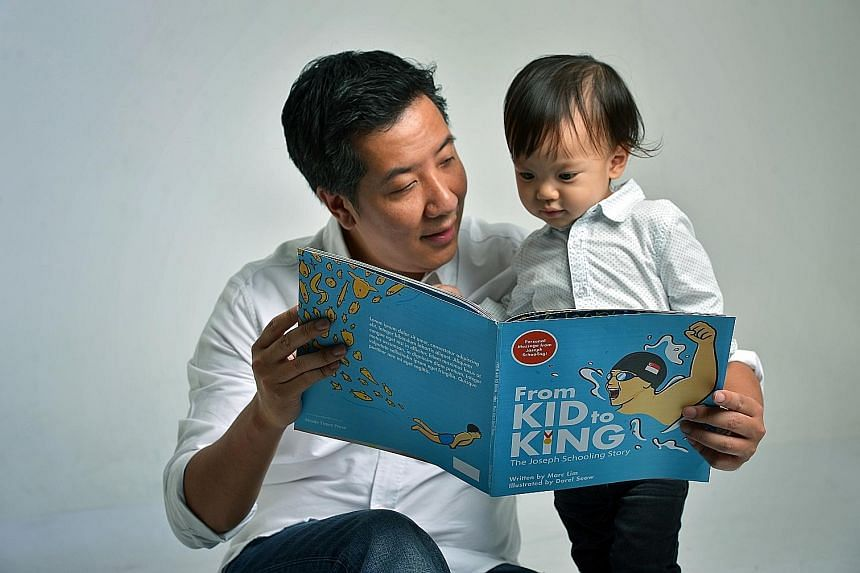 Schooling Joseph (above) chronicles the swimmer's historic Olympic moment, with never-released-before family photos of him. From Kid To King (right) is a children's book written by ST news editor Marc Lim, seen here with Jakob, his 20-month-old son.