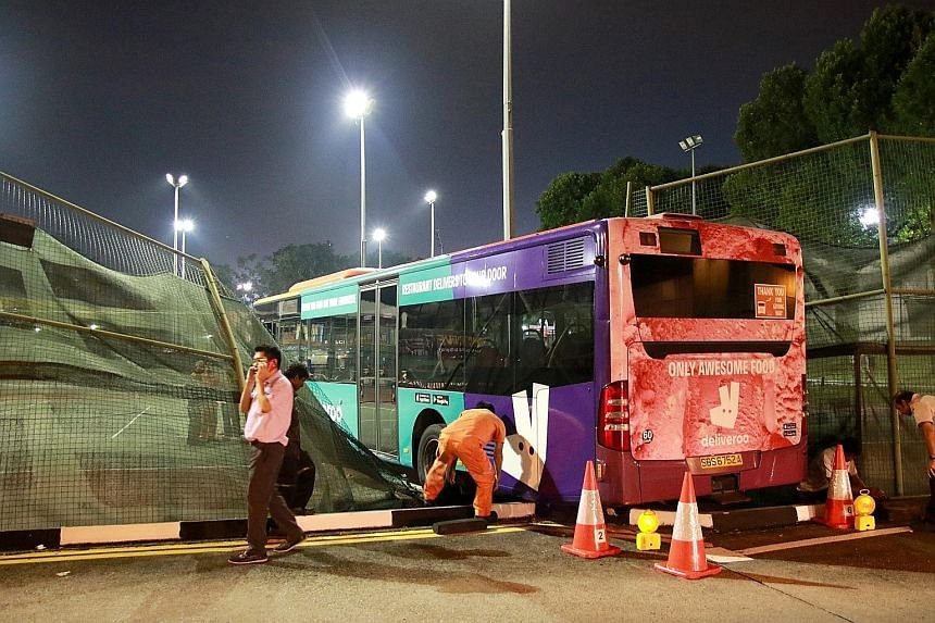 An SBS Transit bus crashed into a tennis complex next to the Yio Chu Kang interchange yesterday. No one was hurt in the accident, and the bus was removed at around 7.45pm. SBS Transit said it is probing the accident.