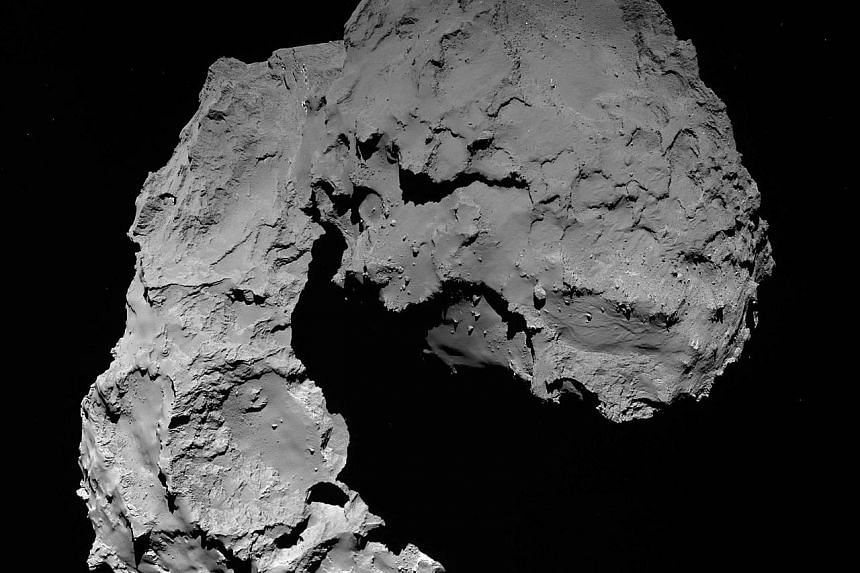 Left: A photograph of comet 67P taken by Rosetta from 22.9km away. Above: Chocolates in the shape of the comet at the European Space Agency's control centre in Darmstadt, Germany.