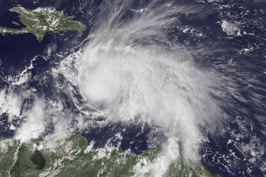 This Noaa Goes East satellite visible image shows Hurricane Matthew in the Caribbean Sea on Sept 29, 2016.