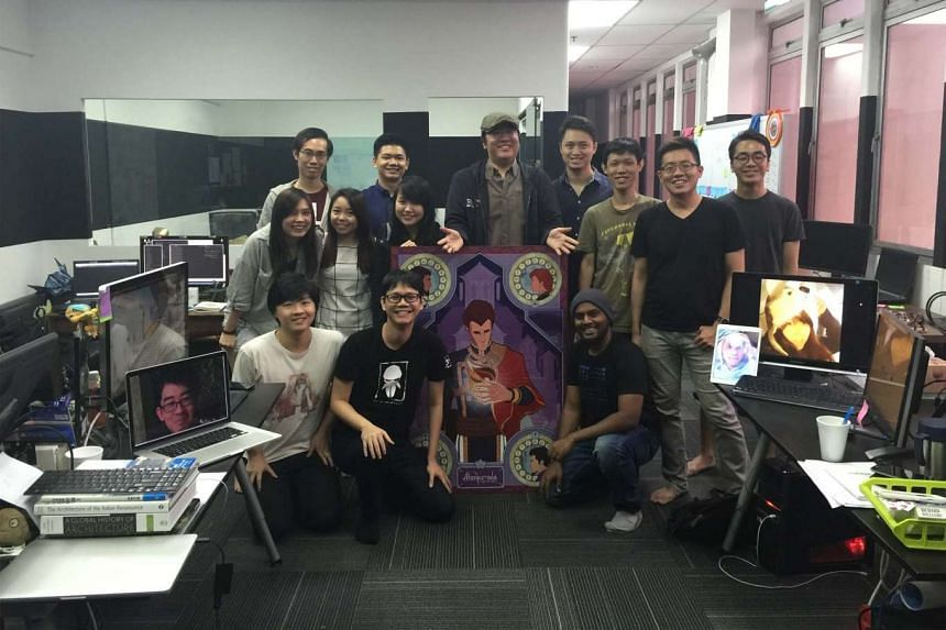 The team at Witching Hour Studios including co-founders Ian Gregory Tan (centre, with cap) and Brian Kwek (to his left).