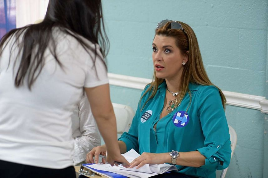 Venezuelan beauty Alicia Machado, who won the Miss Universe Crown in 1996, campaigning for Hillary Clinton on Aug 19, 2016.