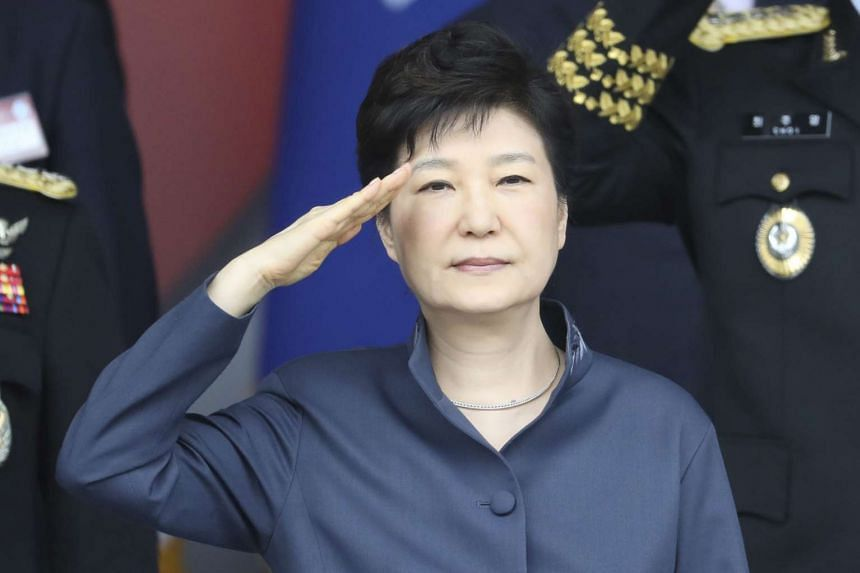 South Korean President Park Geun Hye salutes during the 68th anniversary of Armed Forces Day at the Gyeryong military headquarters in South Korea on Oct 1, 2016.