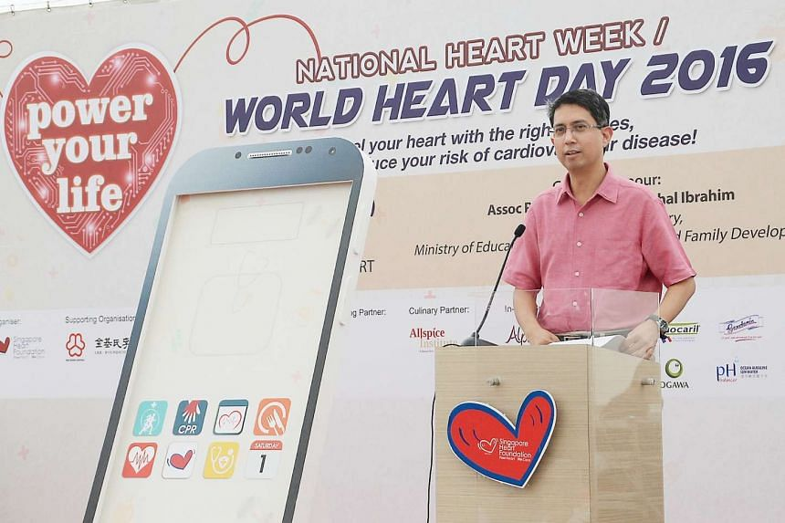 Parliamentary Secretary for Education and Social and Family Development Faishal Ibrahim speaking at the Singapore Heart Foundation's World Heart Day 2016 on Oct 1, 2016.