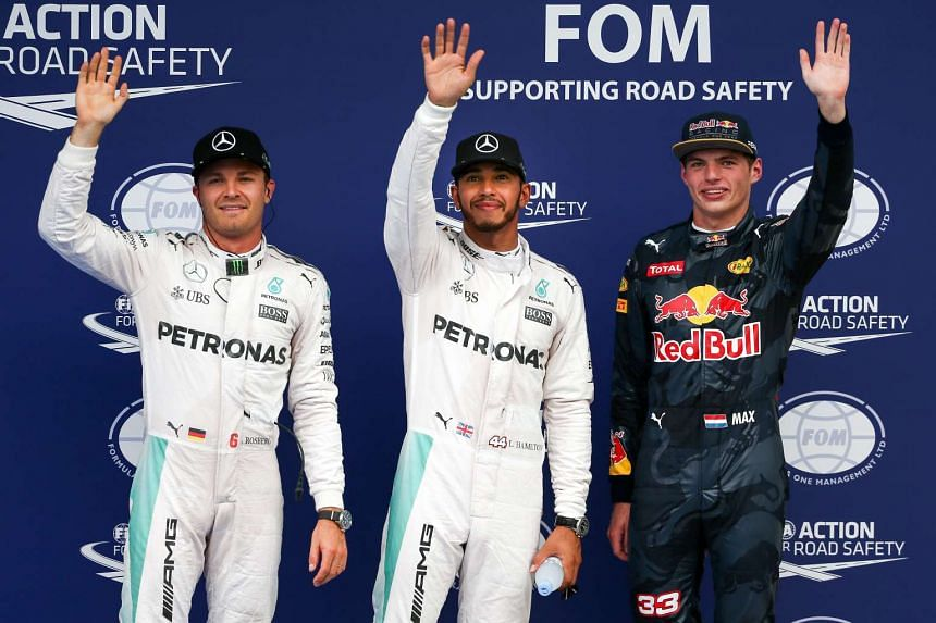 (From left) Nico Rosberg, Lewis Hamilton and Max Verstappen at the end of the qualifying session for the Formula One Grand Prix in Sepang, Malaysia on Oct 1, 2016.