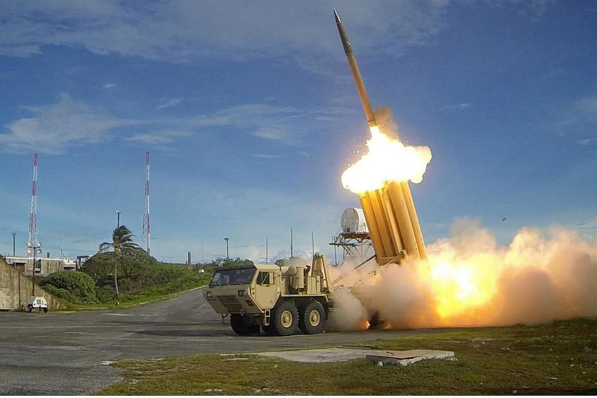 A Terminal High Altitude Area Defense (Thaad) interceptor is launched during a successful intercept test, in this undated handout photograph provided by the US Department of Defense.