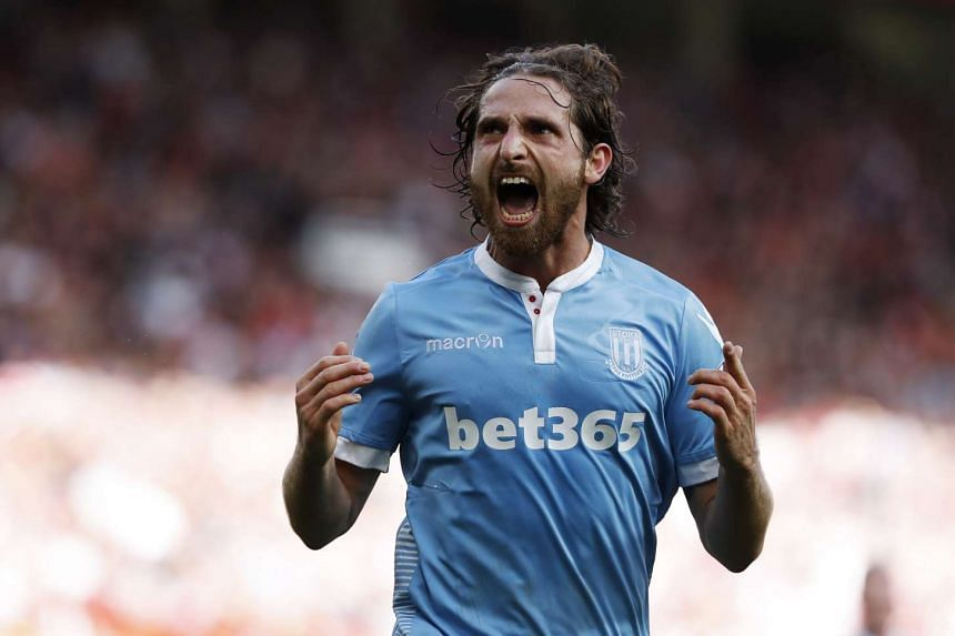 Stoke City's Joe Allen celebrates scoring their first goal against Manchester United during their Premier League match on Oct 2, 2016.