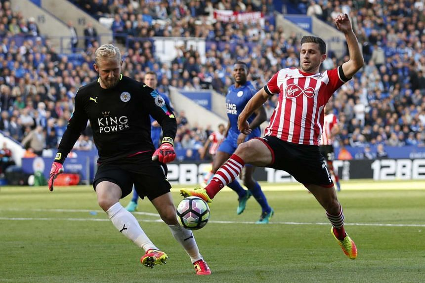 Southampton's Shane Long in action with Leicester City's Kasper Schmeichel during their Premier League match on Oct 2, 2016.