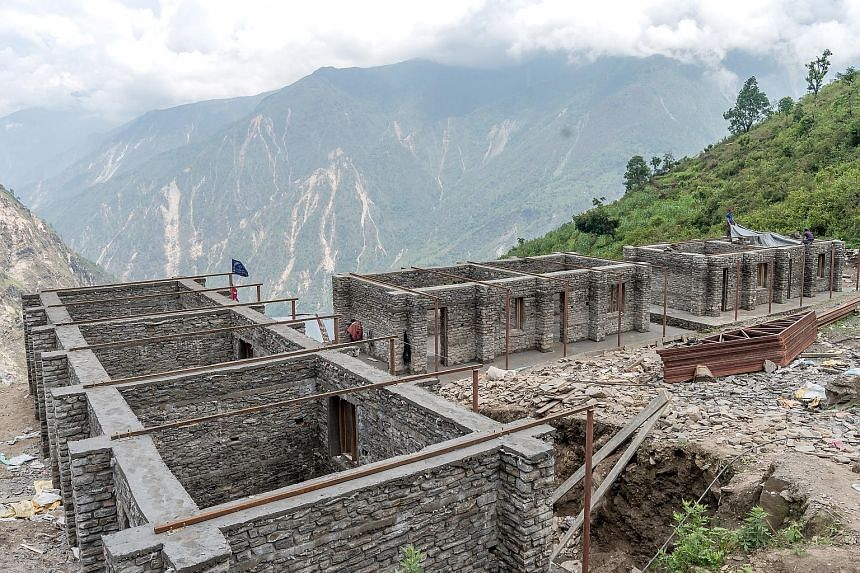A school being built with funding from the SRC. The building can withstand quakes of up to 8.5-magnitude. Mr Kow started the Manaslu Foundation to provide aid to villages affected by last year's earthquake.