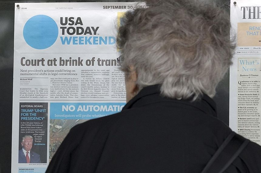 """The front page of the weekend edition of USA Today states that Mr Trump is """"Unfit for the Presidency"""". At least five major conservative- leaning newspapers have issued surprise endorsements for Mrs Hillary Clinton."""
