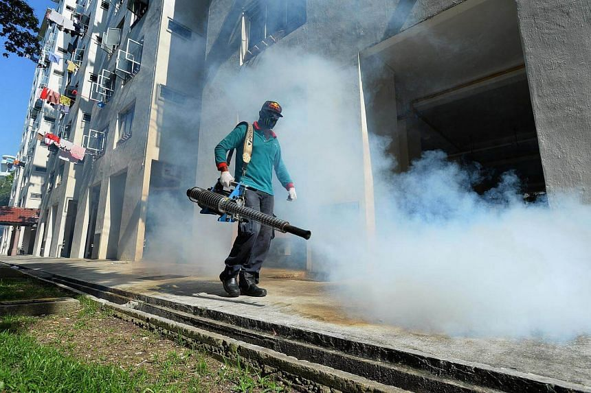 Thermal fogging near 55 Sims Drive in Singapore on Sept 4, 2016. Serious complications are rare among young children infected with the Zika virus, US federal health researchers have concluded in a study.