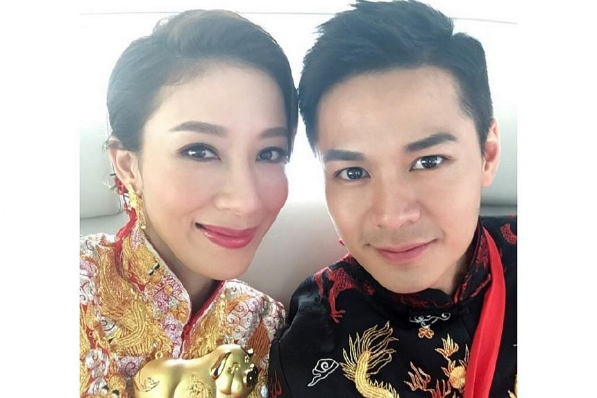 Actress Tavia Yeung held her traditional wedding ceremony with husband Him Law in Hong Kong on Oct 2, 2016.