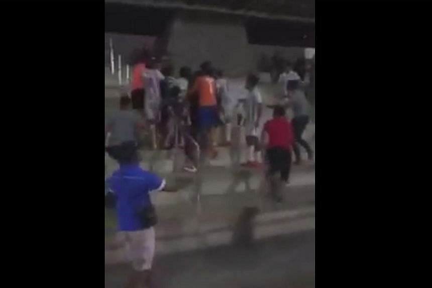 A screengrab of a video show a brawl breaking out during a Football Association Cup 2016 match.