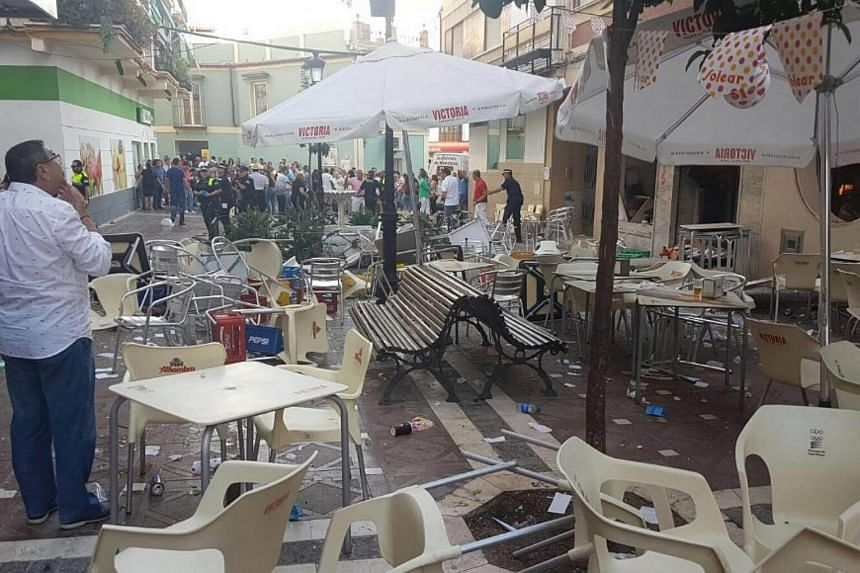 The aftermath of the gas cylinder explosion in the Spanish town of Velez-Malaga.