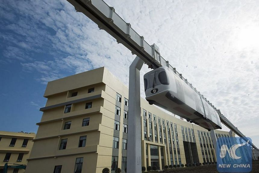 China's first suspension railway line finished its test run in Chengdu, capital of Sichuan province, yesterday.
