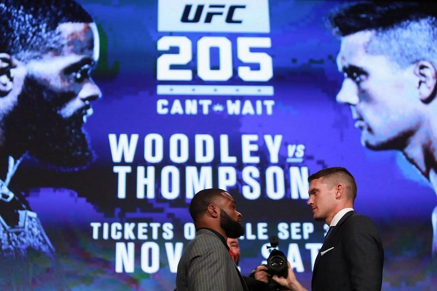 Tyron Woodley and Stephen Thompson face off during the UFC 205 press conference at Madison Square Garden on Sept 27, 2016. More than 20 top celebrities from the worlds of sports and entertainment have piled in as investors in UFC.
