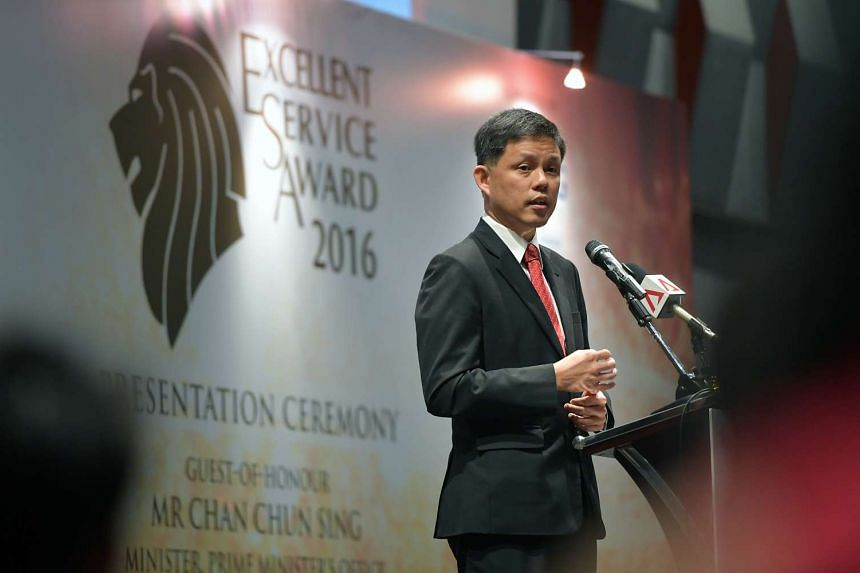 Mr Chan Chun Sing, Minister in Prime Minister's Office, delivers his speech at the Excellent Service Award 2016 Presentation Ceremony on Oct 3, 2016.