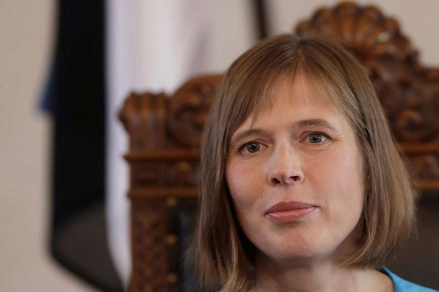 Newly-elected Estonia's President Kersti Kaljulaid during a news conference after the vote in the country's Parliament in Tallinn.